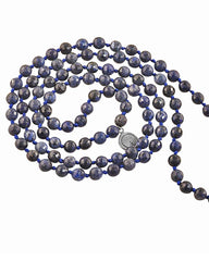 Ether Element Dumortierite 108 Beads Mala with Silver Eye Guru Bead