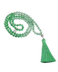 Earth Element Green Jade Mala with Silver Lotus Guru Bead