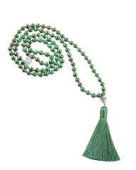 Earth Element Malachite 108 Beads Mala with Silver Om Guru Bead