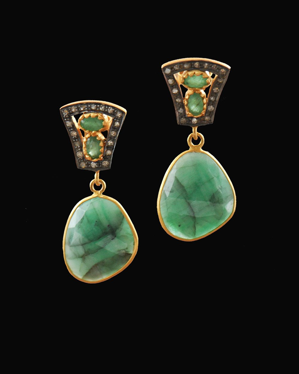 Emerald and Diamond Vintage Earrings