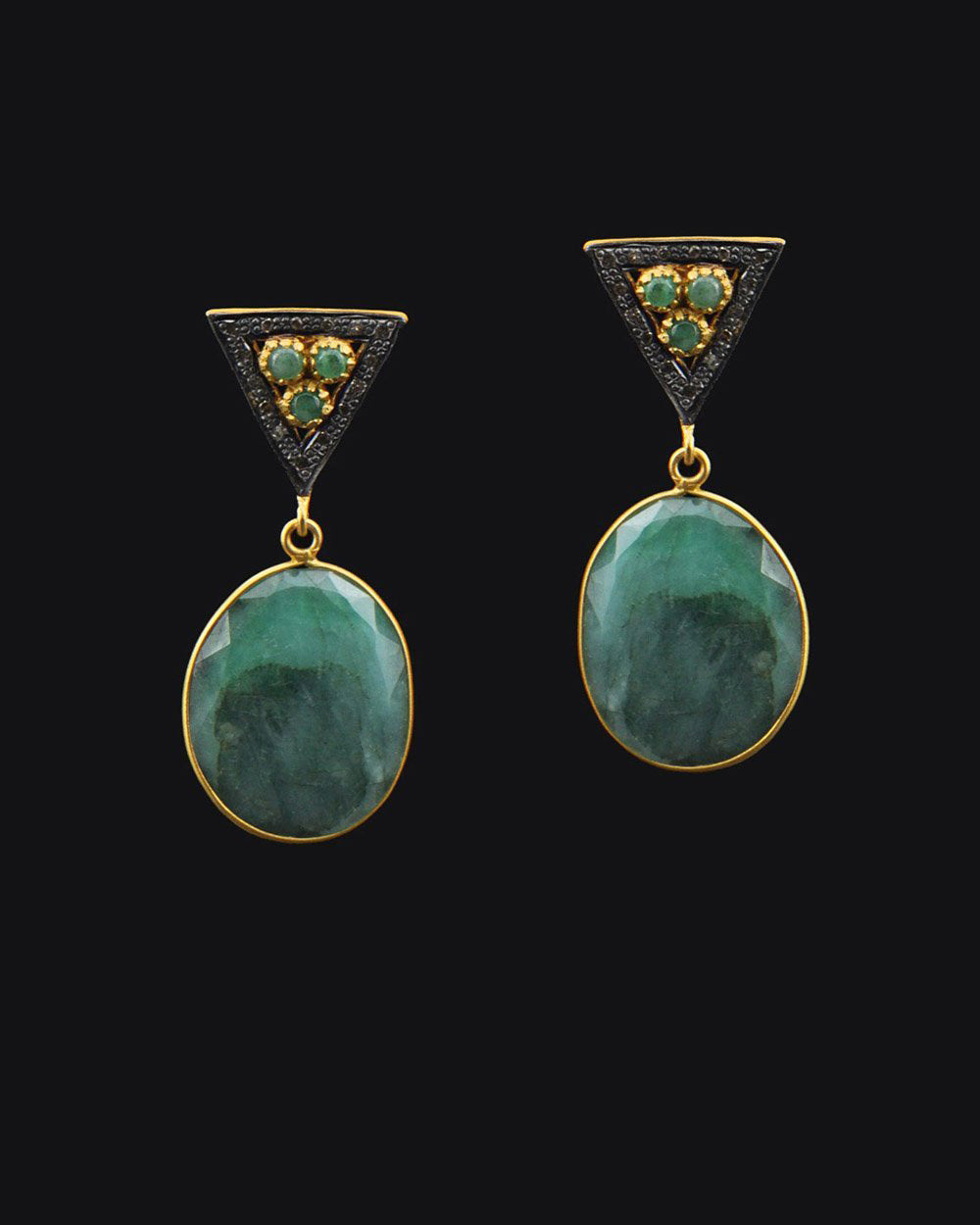 Emerald and Diamond Drop Earrings in Gold Vermeil