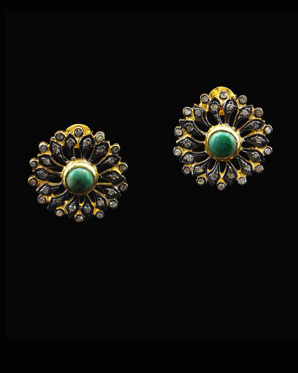 Emerald and Diamond Post Earrings in Gold Vermeil