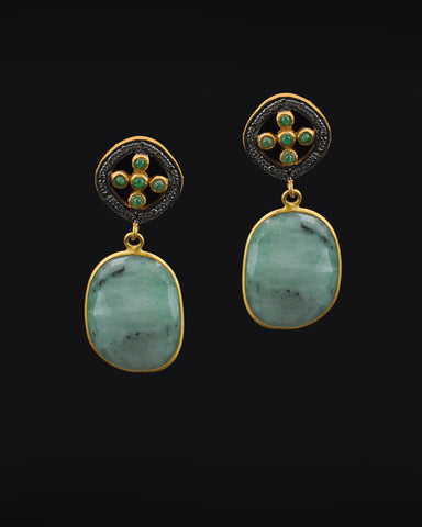 Emerald and Diamond Vintage Drop Earrings