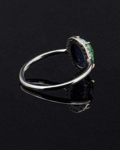 Emerald and Rose Cut Diamonds Ring in Sterling Silver