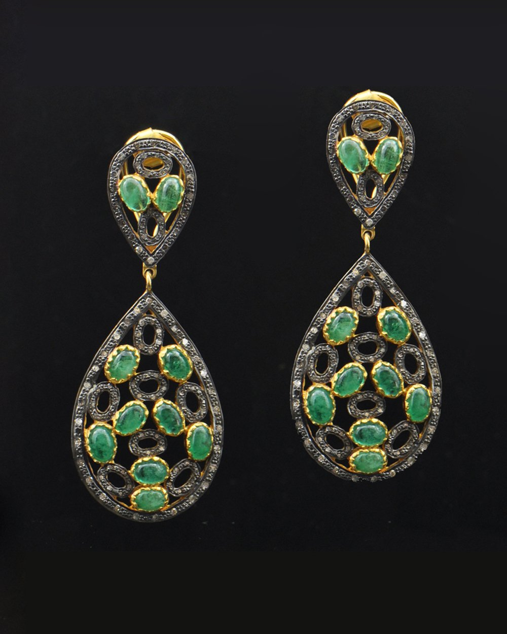 Emerald Cabochons and Rose Cut Diamond Earrings
