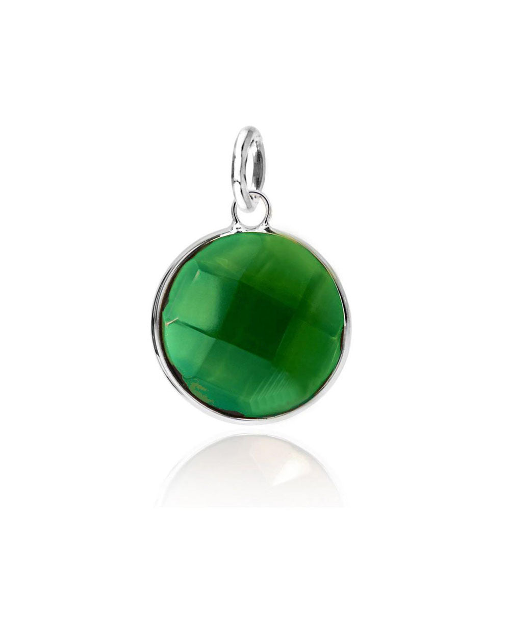 Green Emerald Round Disk Charm in Sterling Silver