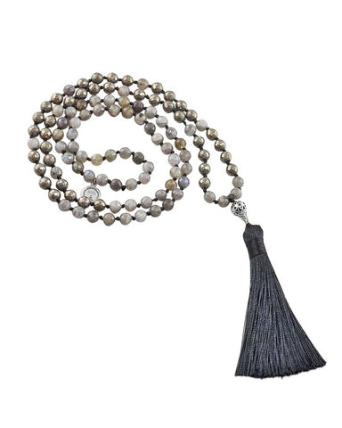 Enlightened Clarity Mala Labradorite and Pyrite