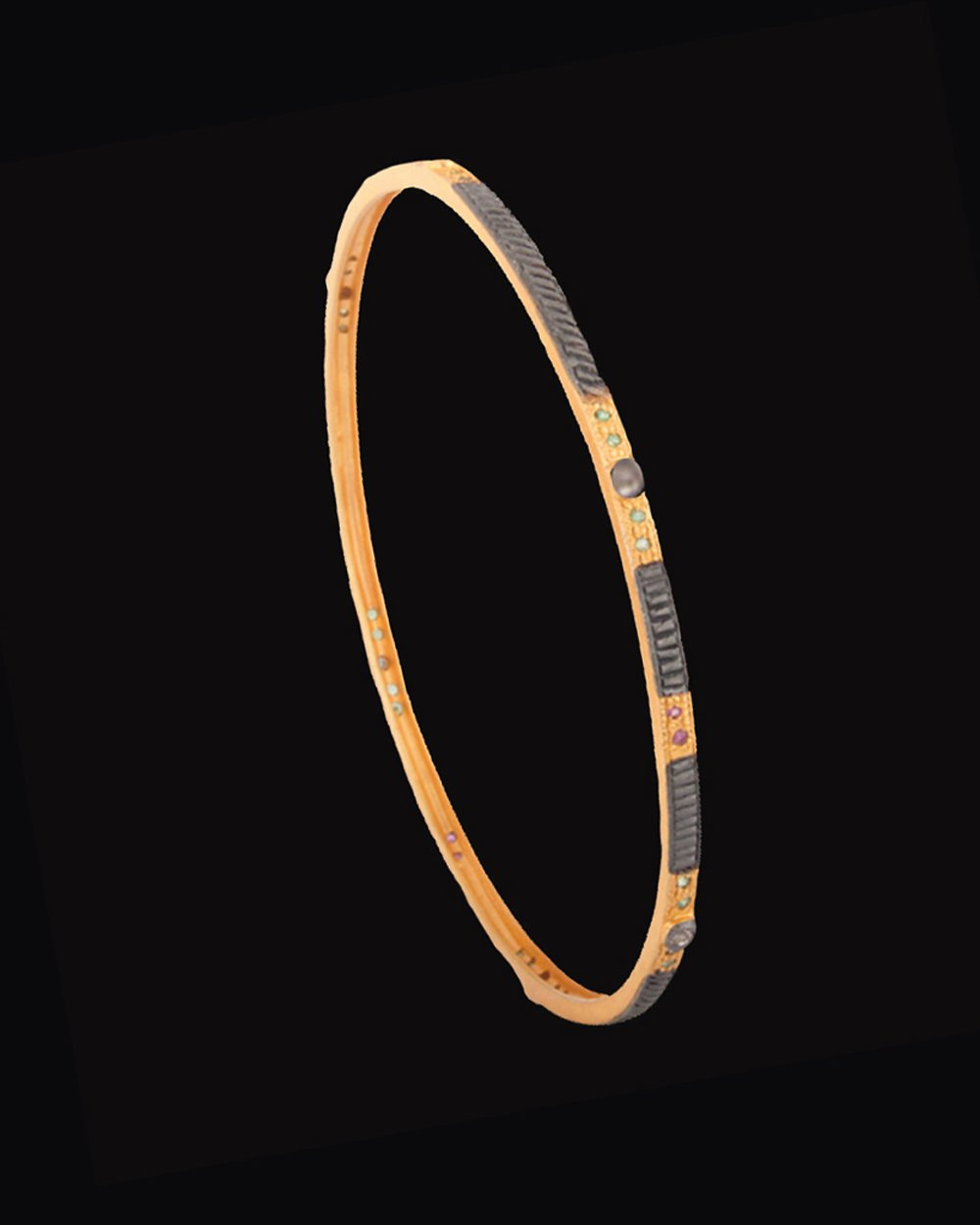 Pave Set Diamonds Bangle Bracelet in Gold Vermeil