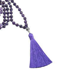 Ether Element Amethyst 108 Beads Mala with Silver Eye Guru Bead