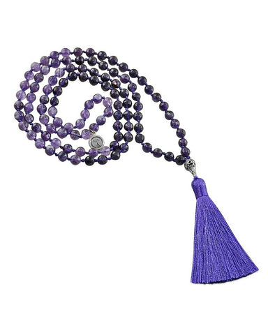 Ether Element Amethyst 108 Beads Mala with Silver Lotus Guru Bead