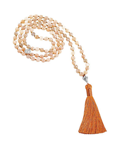 Ether Element Rainbow Moonstone and Peach Moonstone 108 Beads Mala with Silver Eye Guru Bead