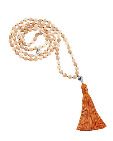 Ether Element Rainbow Moonstone and Peach Moonstone 108 Beads Mala with Silver Lotus Guru Bead