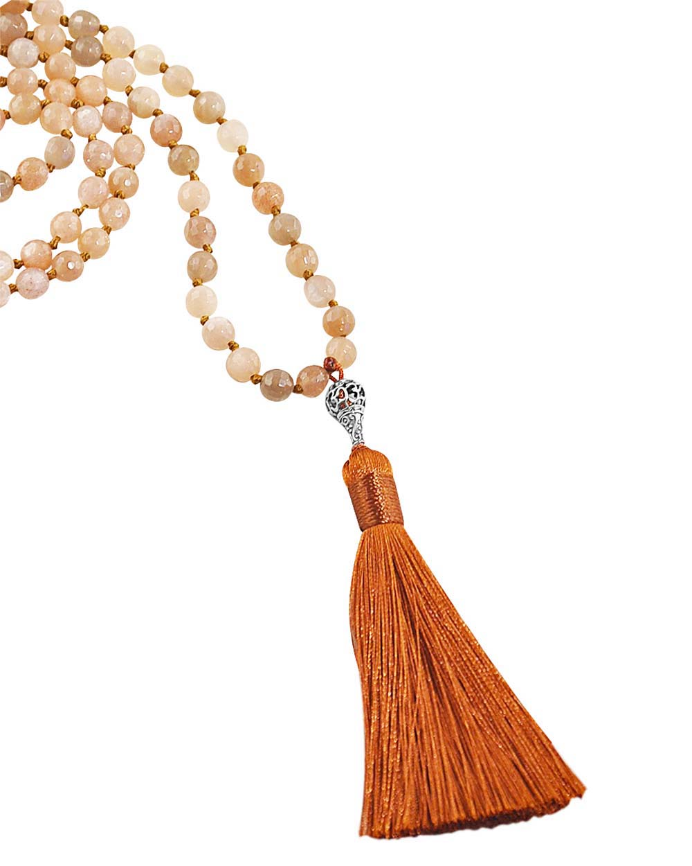 Ether Element Rainbow Moonstone and Peach Moonstone 108 Beads Mala with Silver Om Guru Bead