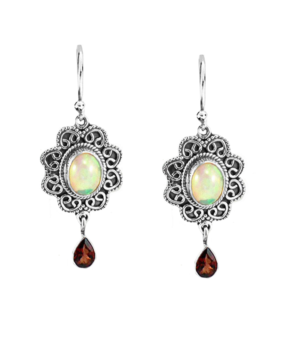 Brilliance Fire Opal and Garnet Sterling Silver Earrings