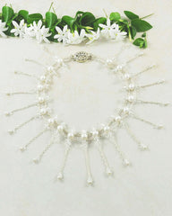Exquisite Pearls and Crystals Cascading Choker in Sterling Silver