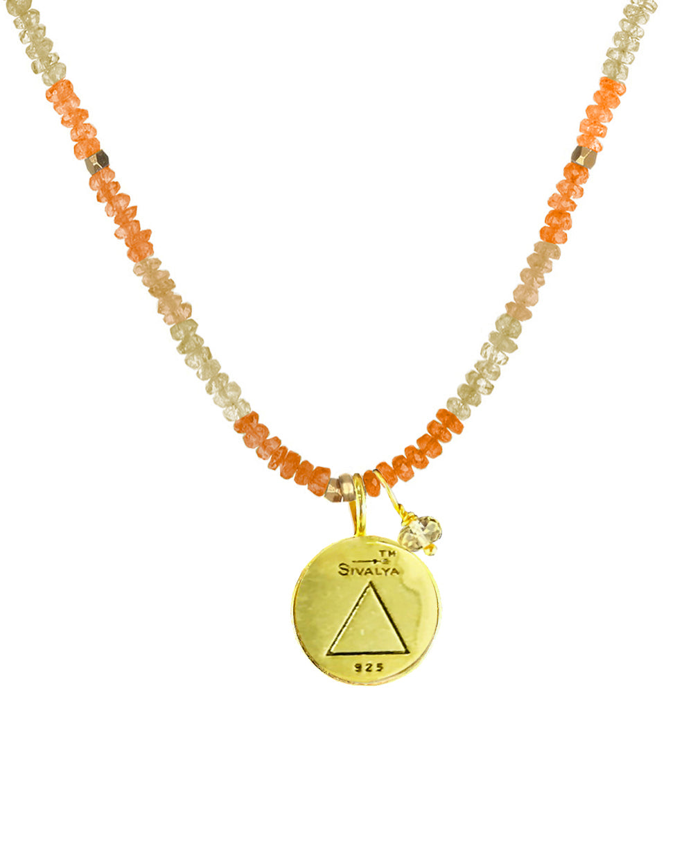 Fire Elements Necklace with Shaded Citrine in Gold Vermeil