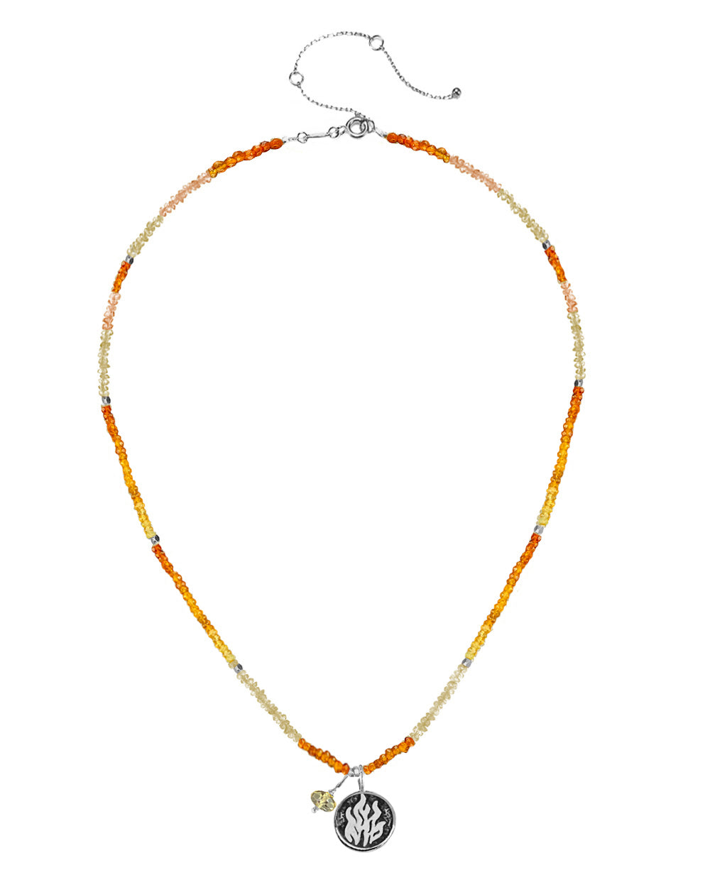 Fire Elements Necklace with Shaded Citrine in Sterling Silver