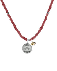 Fire Elements Necklace with Garnet in Sterling Silver