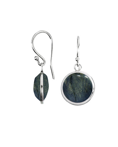 Fire Labradorite Round Gem Drop Earrings