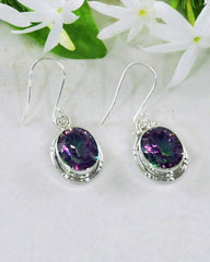 Oval Cushion Cut Fire Mystic Topaz 925 Sterling Silver Earrings