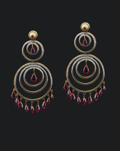 Tourmaline Drops Double Hoop Large Chandelier Earrings