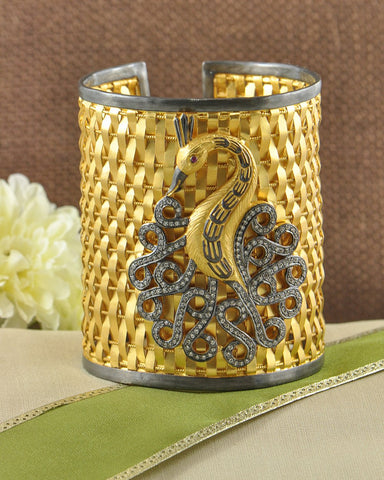 Flamboyant Peacock Wide Cuff Bracelet in Gold Vermeil