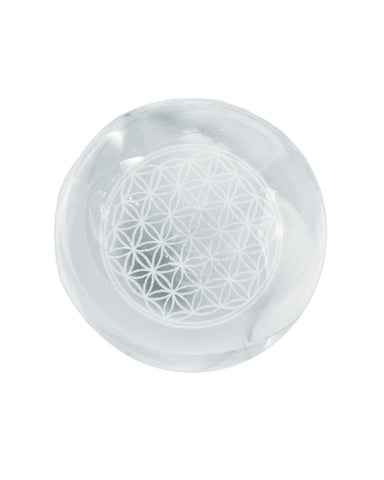 Flower of Life Crystal Quartz Chakra Sphere