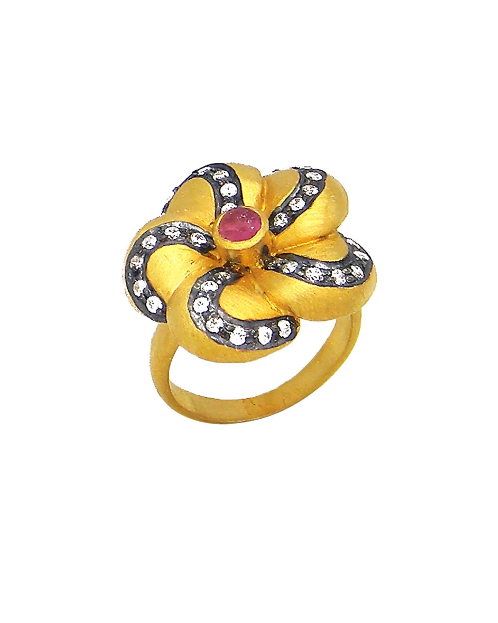 Flower Ring with Crystals in Gold Vermeil