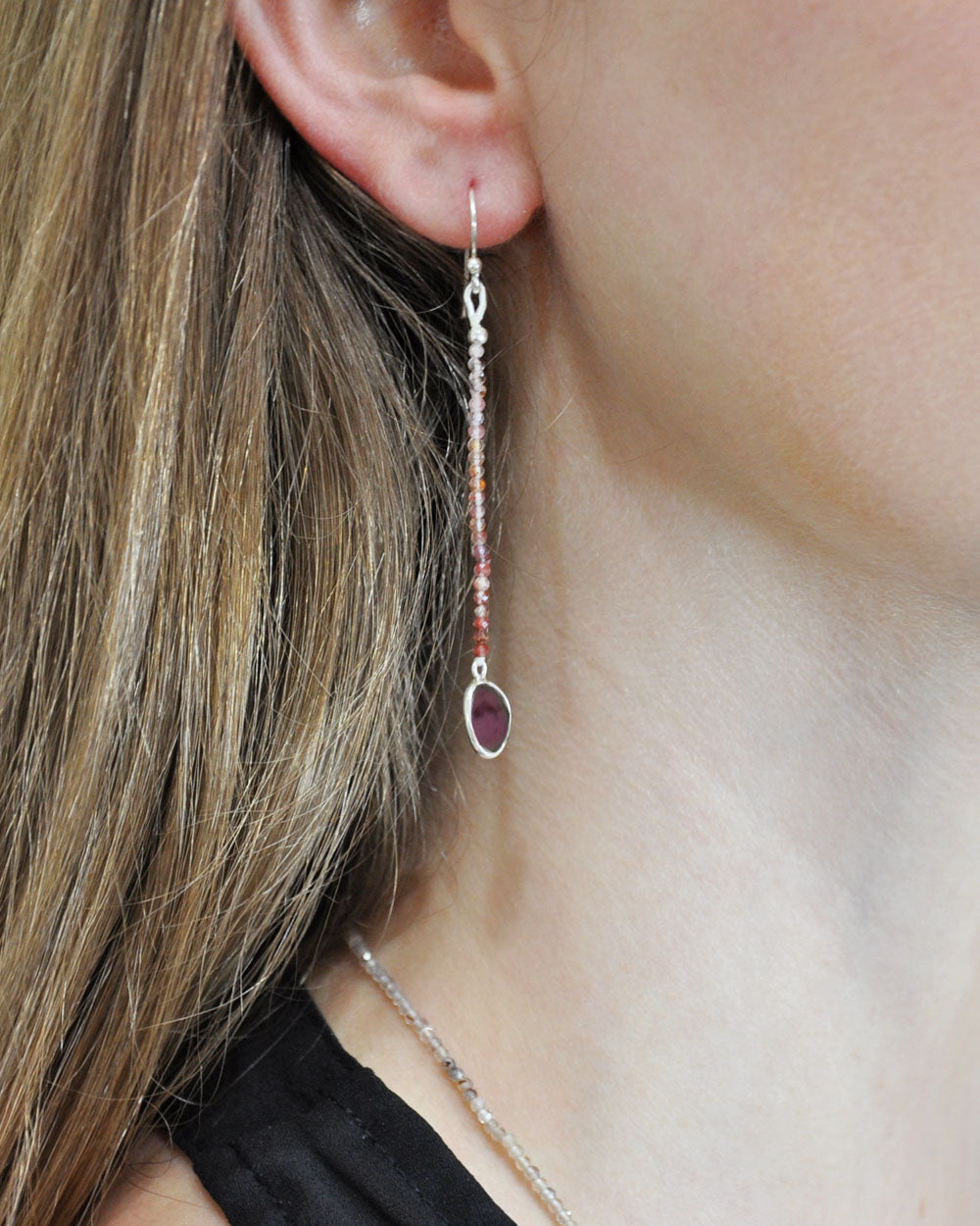 Empowered Dangle Drop Earrings -  Garnet
