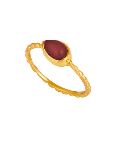 Garnet Pear Cut Pinky Ring in Gold Vermeil