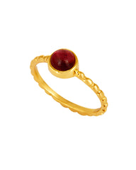 Garnet Pinky Ring in Textured Gold Vermeil