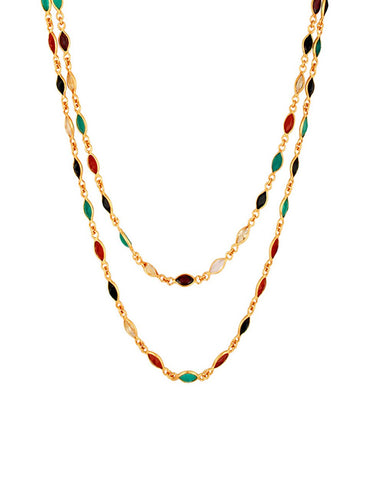 Gem Studded Multi-Colored Long Layering Necklace in Gold Vermeil