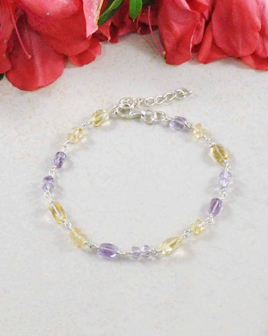 Gentle Guidance Amethyst and Citrine Sterling Silver Bracelet