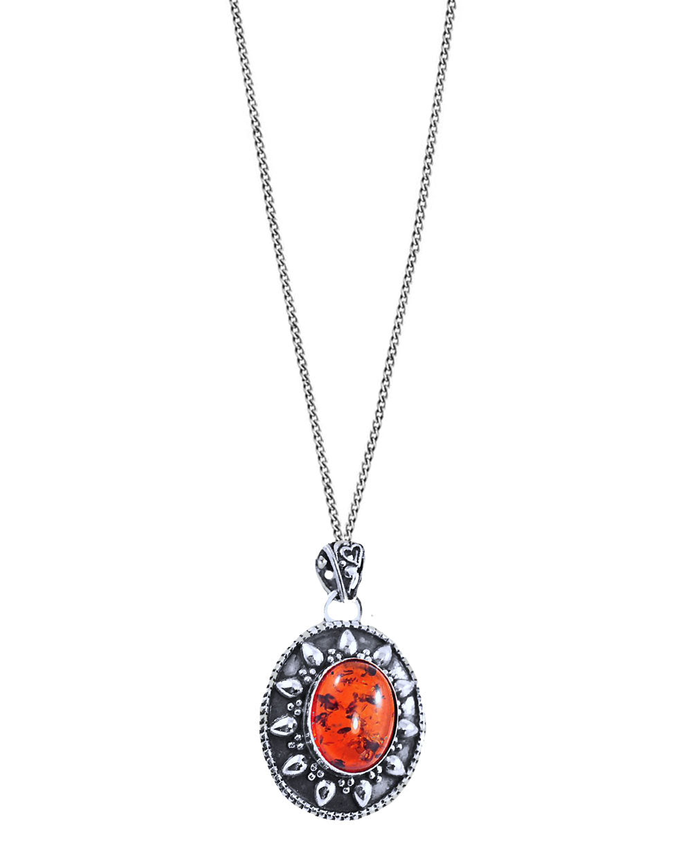Glow Amber Pendant Necklace in Sterling Silver