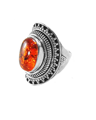 Glowing Amber Sterling Silver Statement Ring