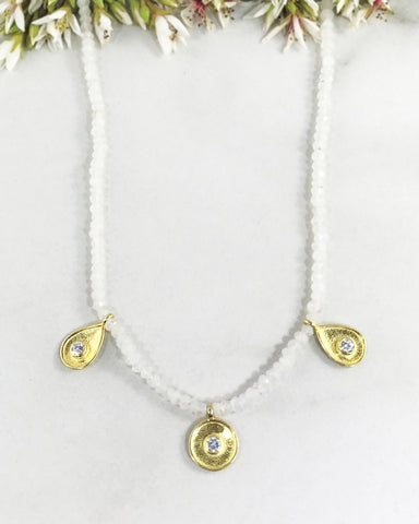 Goddess Energy Necklace Moonstone and Gold Vermeil