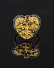 Heart Ring with Crystals in Gold Vermeil