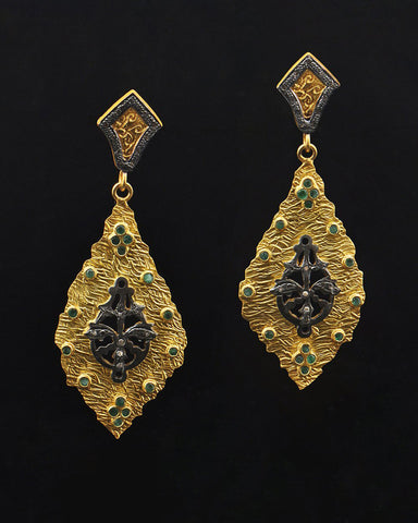 Gold Patina Emerald and Diamond Earrings