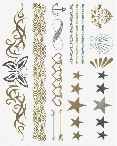 Greek Goddess Gold and Silver Metallic Flash Tattoo Pack - Hair, Arm, Body - Silver Trendz