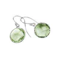 Green Amethyst Round Gem Drop Earrings