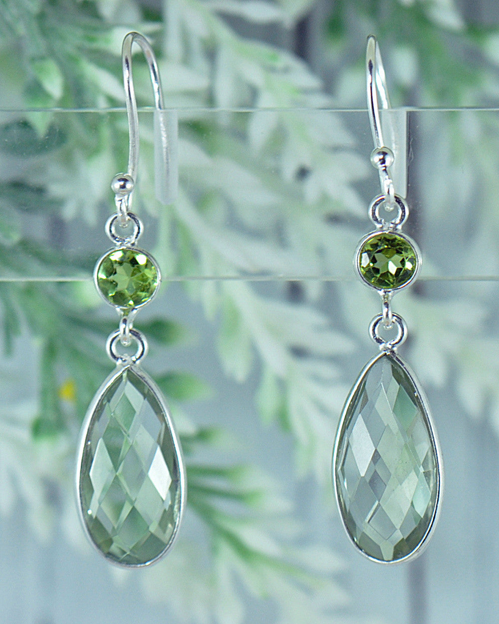 Green Amethyst Prasiolite Earrings in Sterling Silver - Sivalya