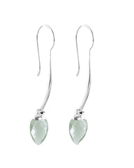 Green Amethyst Prasiolite 925 Sterling Silver Threader Earrings