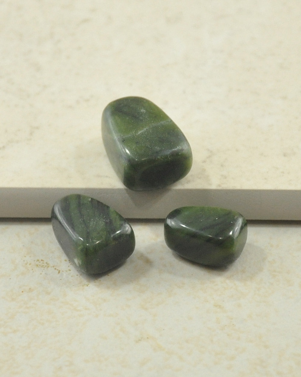 Green Moss Agate Palm Stones - Set of 3