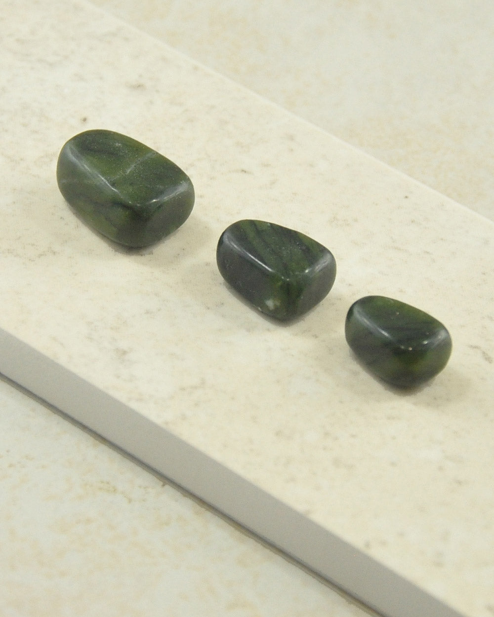 Green Moss Agate Tumble Stones - Set of 3