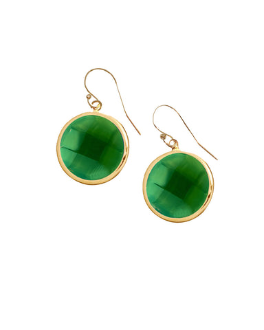 Green Onyx Round Gem Drop Earrings