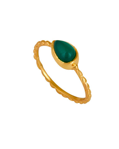 Green Onyx Pear Cut Pinky Ring in Gold Vermeil