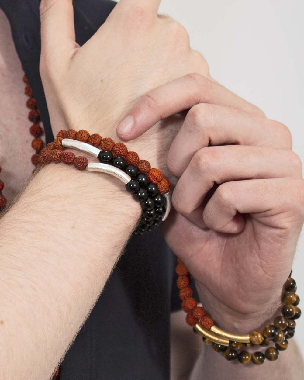 Guided by Wisdom Wrist Mala Rudraksha and Tigers Eye Gold