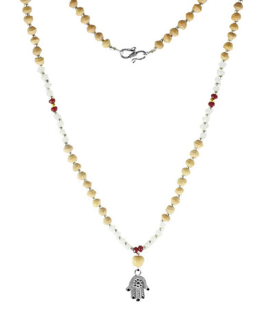 Hamsa Amulet Tusli and Moonstone Mala
