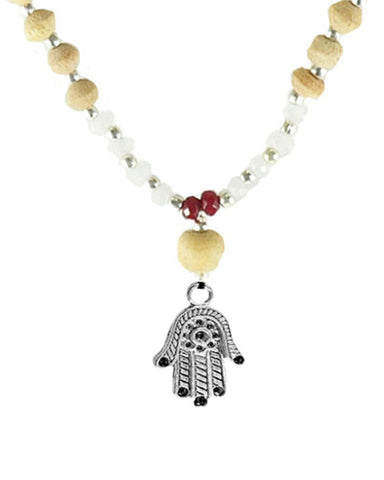 Hamsa Hand of Protection Tusli 108 Power Beads Mala Necklace