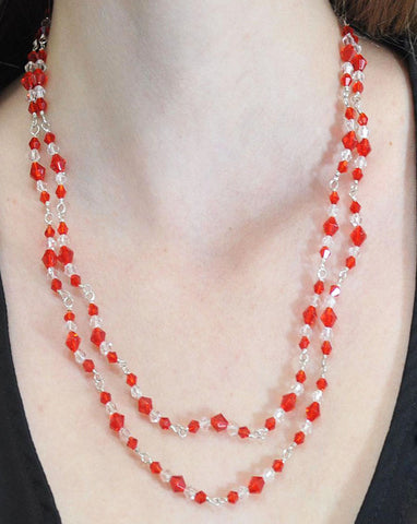 Manifest Empowerment Red Crystals Layered Necklace